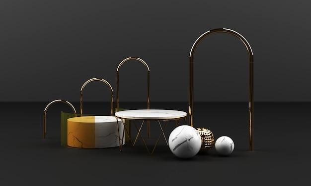 Forma geométrica de textura de mármore branco e ouro com aço inoxidável com grupo de objetos de vidro conjunto 3d render cena abstrata em branco pódio