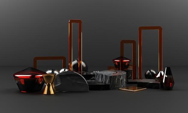 Forma geométrica de textura de mármore preto e ouro com aço inoxidável com grupo de objetos de vidro de cor definido 3d render cena abstrata em branco pódio