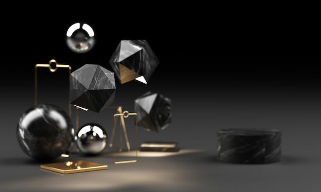 Forma geométrica de textura de mármore preto