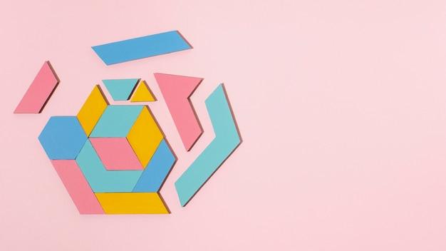 Forma geométrica de vista superior com espaço de cópia