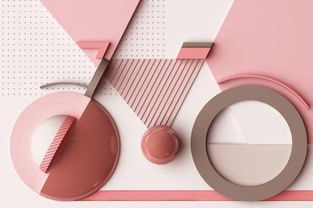 Forma geométrica do conceito de esporte de bicicleta em tons de rosa pastel renderização em 3d