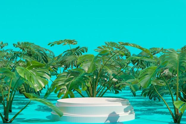 Forma geométrica do pódio branco no jardim natural de monstera deliciosa para a exibição de produtos, fundo verde abstrato do borrão, banners de mídia social da promoção de espaço vazio cópia, renderização em 3d