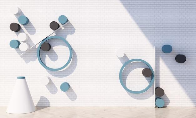 Forma geométrica em tons pastel azuis com parede de ladrilhos brancos e piso de madeira