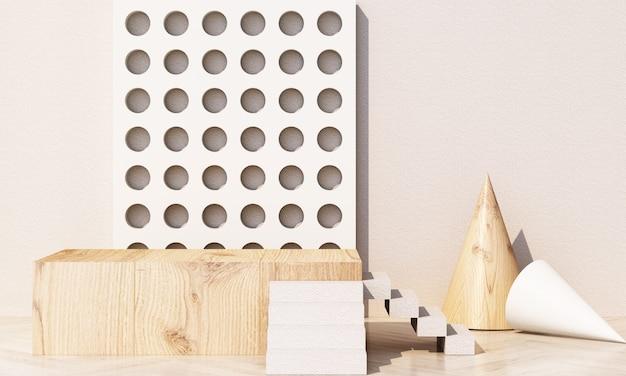 Forma geométrica em tons pastel com textura de madeira e concreto