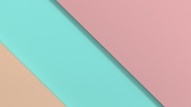 Forma geométrica mínima rosa azul fundo renderização em 3d