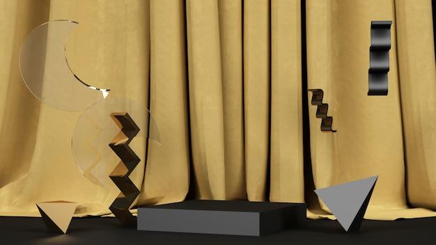 Forma geométrica preta com mármore preto e dourado com um estande de produtos