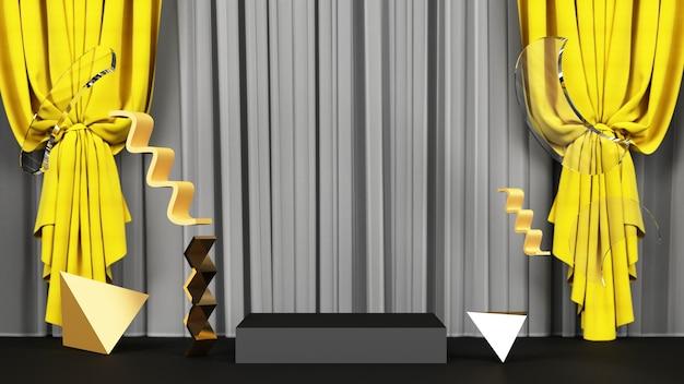 Forma geométrica preta com material amarelo e dourado e renderização de fundo de tecido amarelo