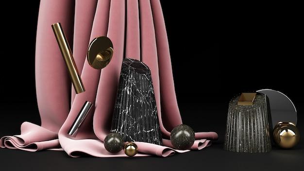Forma geométrica preta com material de mármore preto e dourado e fundo de tecido rosa renderizado