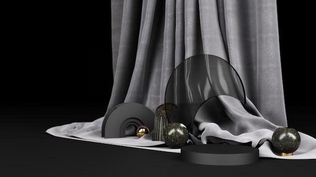 Forma geométrica preto com material de mármore preto e dourado e vidro transparente com renderização de tecido preto