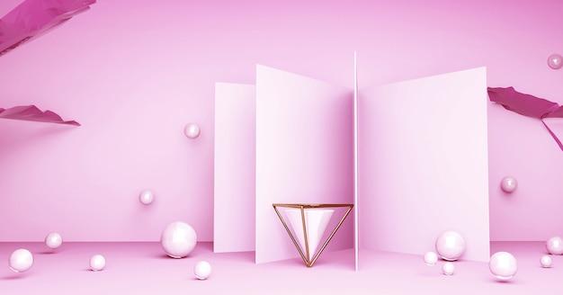 Forma geométrica rosa abstrata para produto de suporte