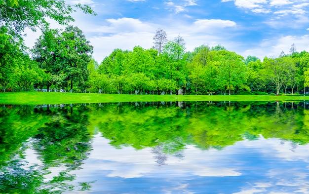 Forma montanhas jardim campo exterior lagos