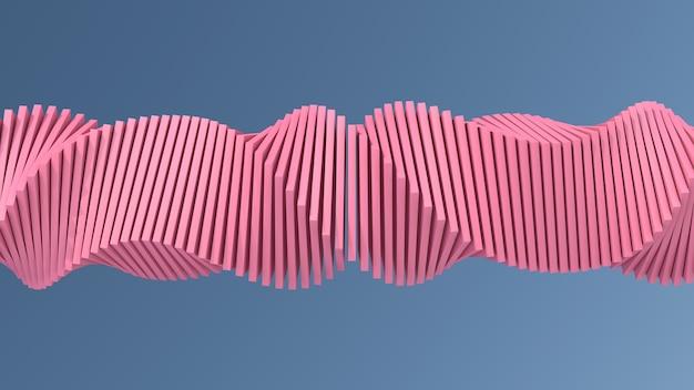 Forma rosa torcida. ilustração abstrata, renderização em 3d.