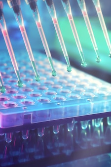 Formação científica. pontas de pipeta multicanal para análise de dna.