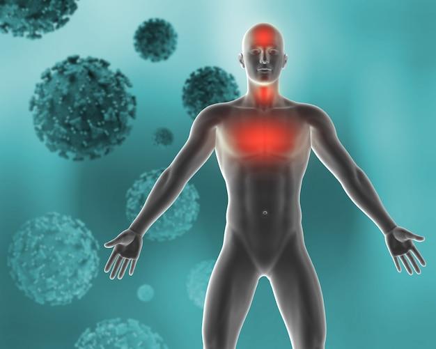 Formação médica 3d que descreve os sintomas do vírus covid 19