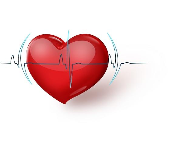 Formação médica com coração e pulso vermelhos