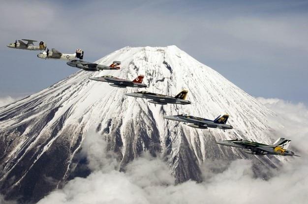 Formação montagem fujiyama vulcão vôo fuji