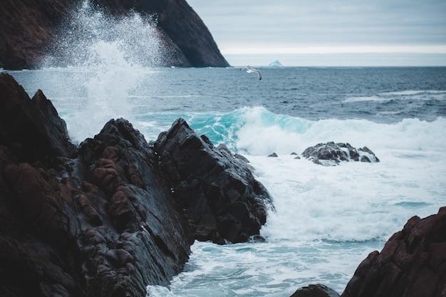 Formação rochosa na fotografia do oceano