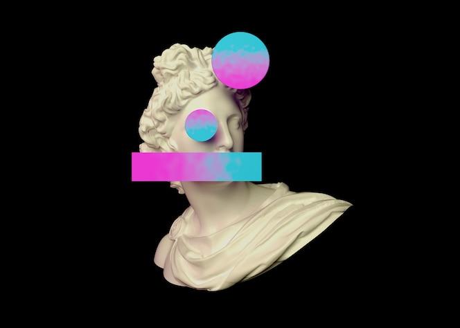 Formas 3d coloridas no estilo vaporwave