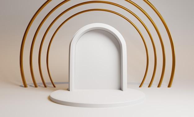Formas 3d com porta e círculos para apresentação do produto