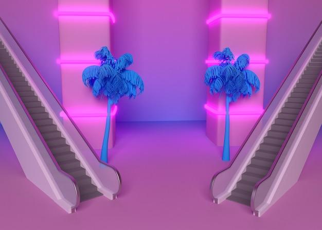 Formas 3d retrô em estilo vaporwave