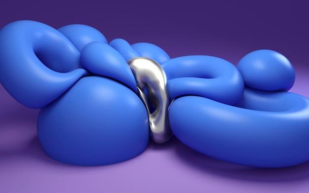 Formas abstratas 3d que rendem a ilustração. círculos comprimidos azuis no fundo roxo.