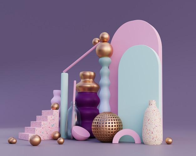 Formas abstratas e composição de vasos em cores pastel conceito de equilíbrio renderização 3d