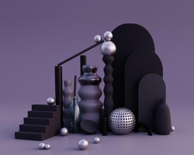 Formas abstratas e composição de vasos nas cores preto e cinza conceito de equilíbrio renderização 3d