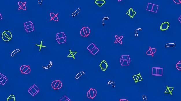 Formas coloridas brilhantes. fundo azul. ilustração abstrata, renderização 3d.
