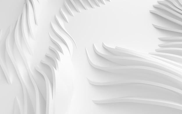 Formas curvas abstratas de fundo branco circular na ilustração 3d