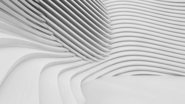 Formas curvas abstratas. fundo circular branco. fundo abstrato. ilustração 3d