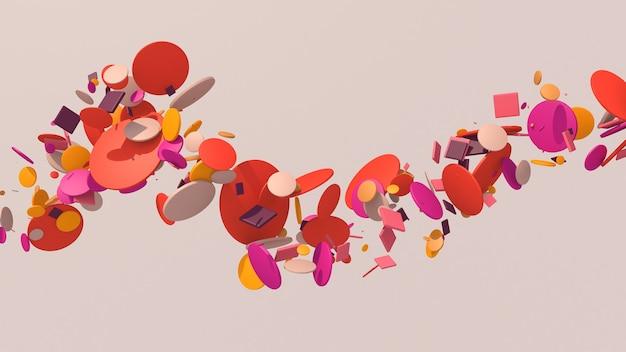 Formas de círculo brilhante voando. luz forte. ilustração abstrata, renderização 3d.