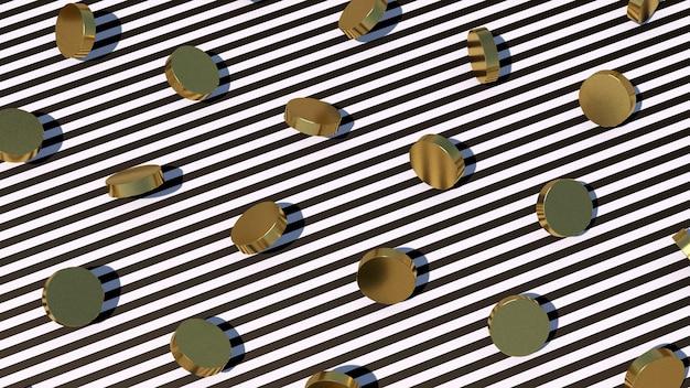 Formas de círculo dourado, listrado em preto e branco