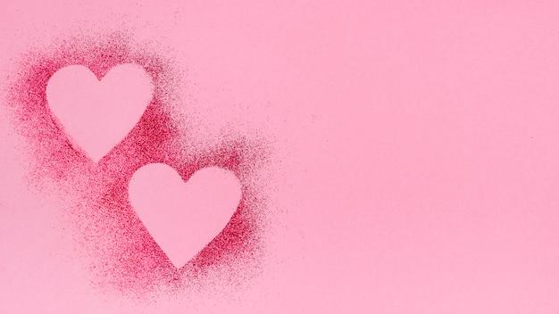 Formas de coração de glitter em pó