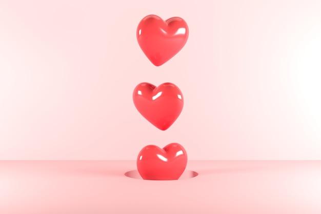 Formas de coração vermelho flutuando de um buraco no fundo rosa. renderização 3d. idéia mínima do conceito dos namorados.
