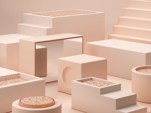 Formas de cores creme sobre fundo abstrato de cores pastel. pódio de caixas mínimas.