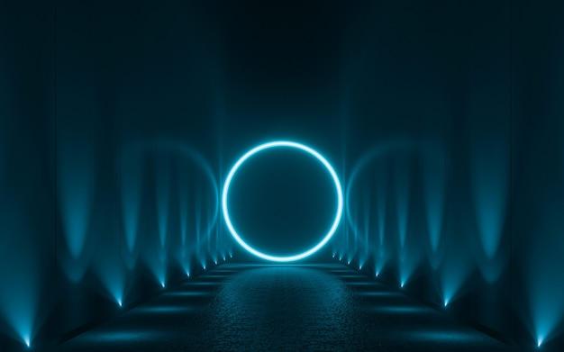 Formas de luz de néon azuis abstratas em fundo preto. 3d render