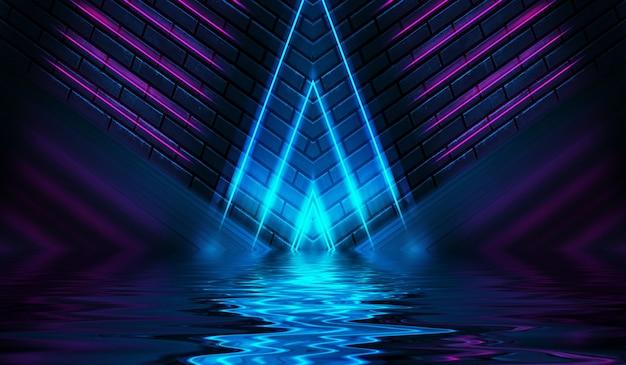 Formas de néon em uma parede de tijolos escuros iluminação ultravioleta reflexo da luz de néon na parede de tijolos
