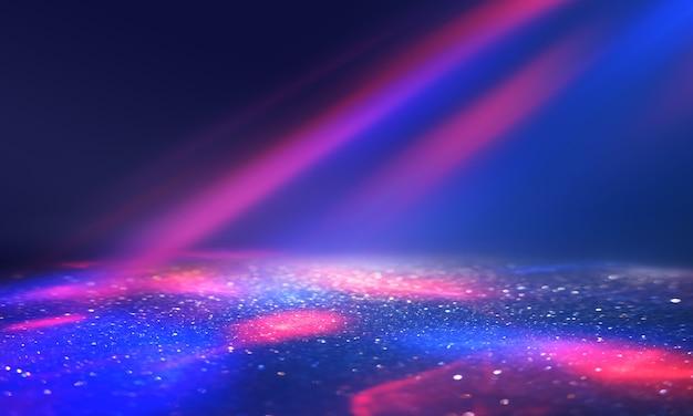 Formas de néon multicoloridas em um fundo escuro e abstrato