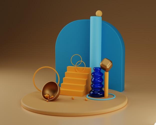 Formas e vasos abstratos. composição colorida. conceito de equilíbrio. renderização 3d.