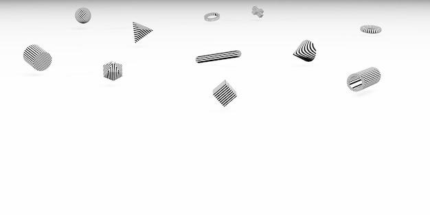Formas geométricas 3d abstratas fundo simples com cubos estilo minimalista ilustração 3d