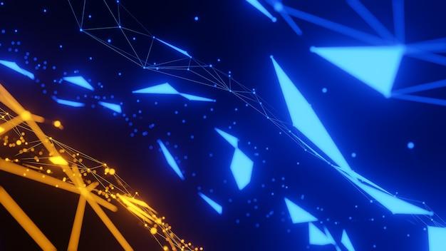 Formas geométricas abstratas de plexo azul e laranja., fundo de rede de comunicação e tecnologia