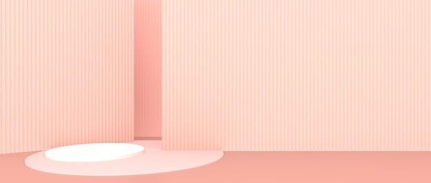 Formas geométricas abstratas fundo rosa estande de exposição de produtos, vitrine de produtos, exibição 3d