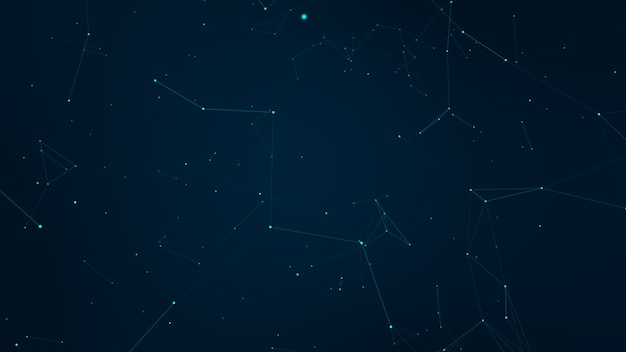 Formas geométricas azuis do plexo abstrato. conexão e conceito da web. comunicação digital.