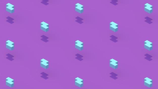 Formas geométricas azuis. fundo roxo. ilustração abstrata, renderização 3d.