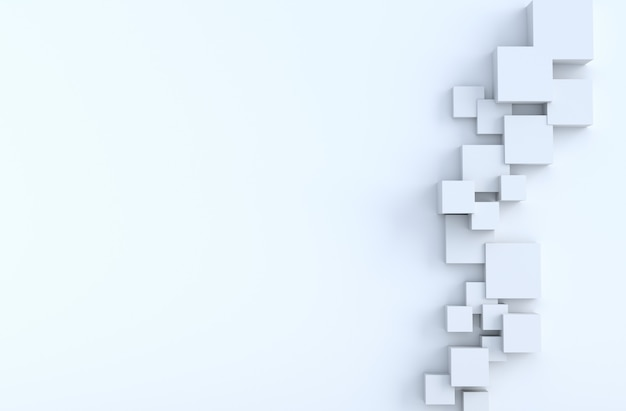 Formas geométricas brancas do cubo e fundo do espaço da cópia.