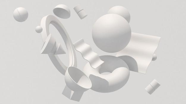 Formas geométricas brancas, luz forte. ilustração abstrata, renderização 3d.