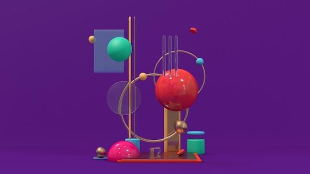 Formas geométricas brilhantes. ilustração abstrata, renderização em 3d.