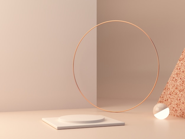 . formas geométricas. cena de cores pastel. renderização 3d mínima. cena com formas geométricas e texturizadas