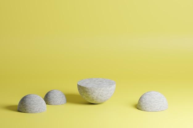 Formas geométricas cinza em um fundo amarelo em cena de modelagem 3d