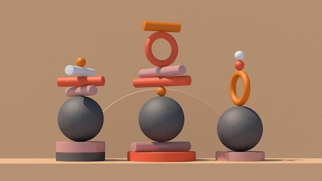 Formas geométricas coloridas conceito de equilíbrio ilustração abstrata d render